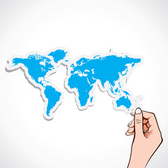 world map in hand stock vector
