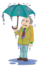 Man with a Small Umbrella, illustration
