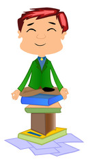 Working Man Doing Meditation, illustration
