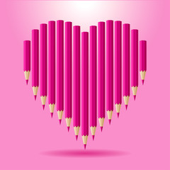 Heart of pink pencils. Vector background Valentine's Day.