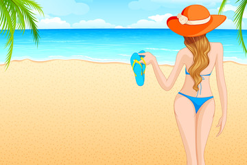 vector illustration of lady walking on sea beach