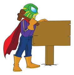 Superhero Hammering a Sign Post to the Ground, illustration