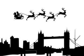 Christmas Sleigh Flying over London