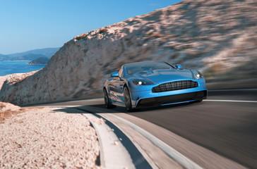 blauer luxussportwagen am berg Wall mural