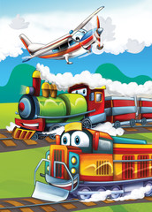Printed roller blinds Cars The locomotive and the flying machine