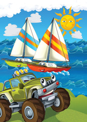 Printed roller blinds Cars The vehicle and the ship