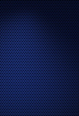 Dark blue texture with hexagonal grating. Isolated on black.