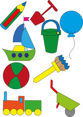 children's toys on a white background - vector illustration