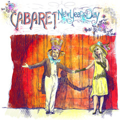 Cabaret New Years Day. Full-sized (original) hand drawing