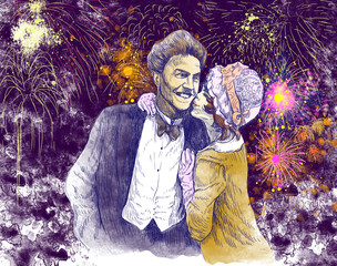 good luck kiss in front of  the evening fireworks - hand drawing