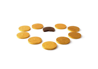 chocolate chinks on a white background