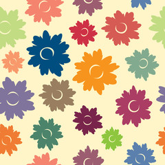 Multicolored seamless background with many sketchy flowers