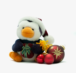 Penguin with santa hat,present and baubles