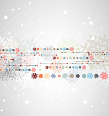 christmas and new year greeting color snow background
