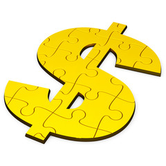 Dollar puzzle, gold and solid