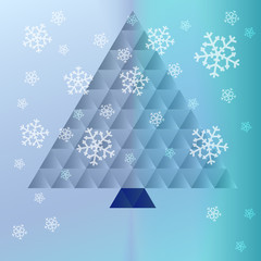 christmas tree triangle concept on snowy background vector