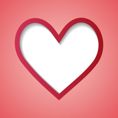 red background with a heart frame