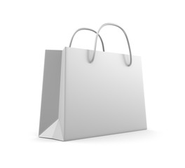 White classic shopping bag. Isolated on white