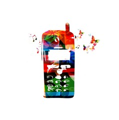 colorful vector mobile phone with butterflies