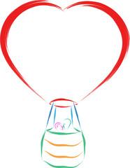 couple in love hot air balloon vector illustration