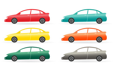 set of isolated modern colorful car