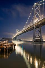 Bay Bridge and the reflection at Night in San Francisco
