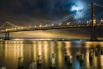 Bay Bridge, San Francisco under the moon light