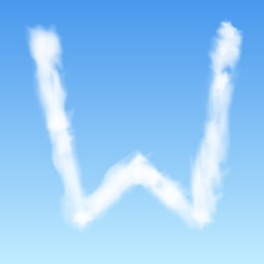 Clouds in shape of the letter W. Vector illustration.