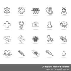 Fototapeta zestaw 20 medycznych ikon zdrowie badania monochrom obraz