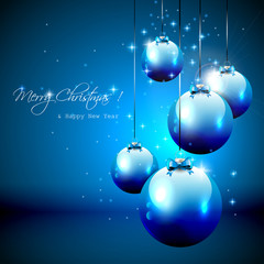Luxury blue Christmas background with baubles.