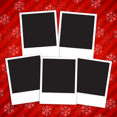 Winter holidays card with blank photo frames