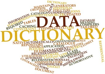 Word cloud for Data dictionary