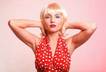 young beautiful caucasian woman posing retro