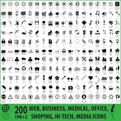 200 web, media, shopping, medical, icons