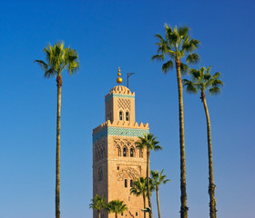 Koutoubia Mosque minaret in Marrakech, Morocco