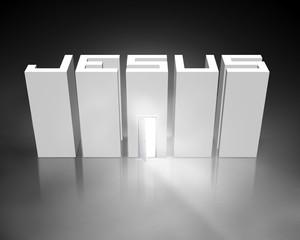 Fototapete - Jesus with open door