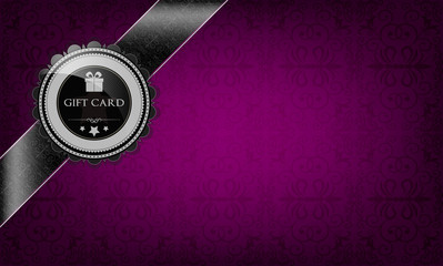 Purple gift card and black ribbon
