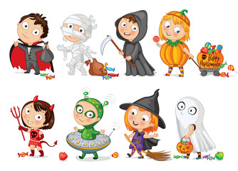 Happy Halloween. Funny little children in colorful costumes