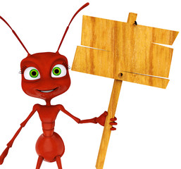 ant cartoon holding a sing close up