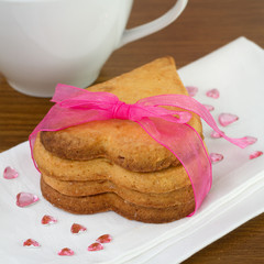 heart cookies with white cup