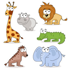 Vector Set of African Cartoon Animals