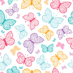 Floral butterflies vector seamless pattern background with hand