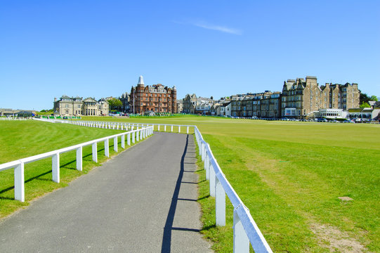 Golf St Andrews old course links. Footpath at hole 18. Scotland.
