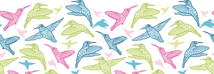 Colorful hummingbirds vector horizontal seamless pattern