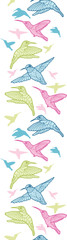 Colorful hummingbirds vector vertical seamless pattern ornament