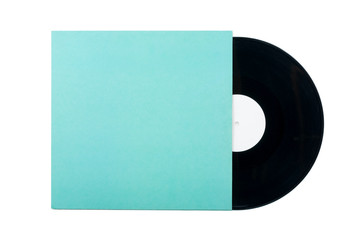 Vinyl Record with cover isolated on white background