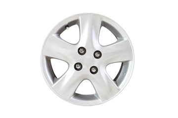 Car wheel on white isolate