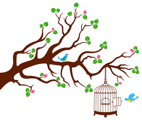 Deurstickers Vogels in kooien Tree Branch with bird cage and two birds