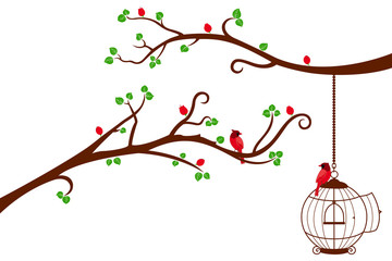 Recess Fitting Birds in cages Two Tree Branches with bird cage and love birds