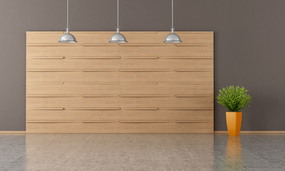 empty room with wooden panel